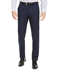 Men's Slim-Fit Stretch Navy Blue Solid Suit Pants, Created For Macy's
