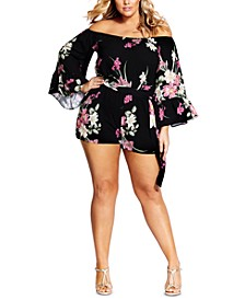 Trendy Plus Size Printed Off-The-Shoulder Romper