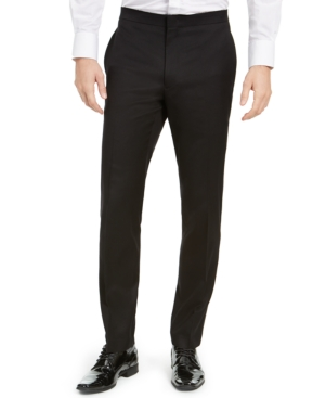 Men's Slim-Fit Stretch Black Tuxedo Pants