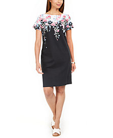 Karen Scott Printed Boat-Neck Dress, in Regular and Petite, Created for Macy's