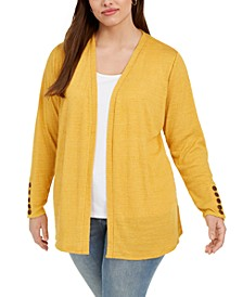 Plus Size Open-Front Button-Cuff Cardigan Sweater