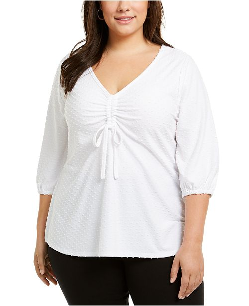 Belldini Plus Size Blouson-Sleeve Top