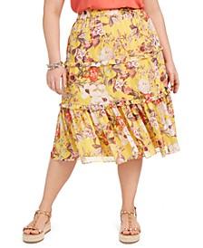 INC Plus Size Tiered Maxi Skirt, Created for Macy's