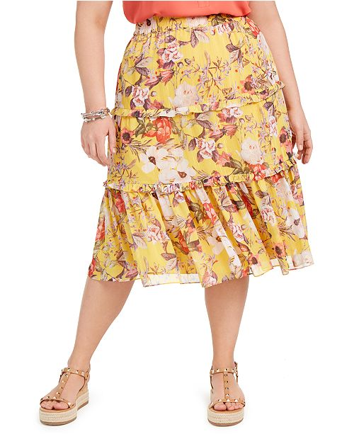 INC International Concepts INC Plus Size Tiered Maxi Skirt, Created for Macy's