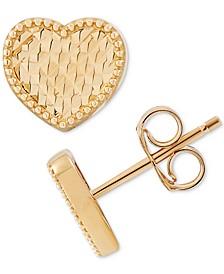Textured Heart Stud Earrings in 10k Gold