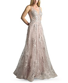Sparkle Embroidered Plunge Gown