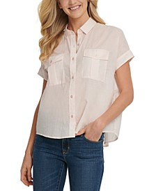 Button-Up Short-Sleeve Cotton Shirt
