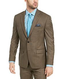 Men's Classic-Fit UltraFlex Stretch Brown Sharkskin Suit Jacket