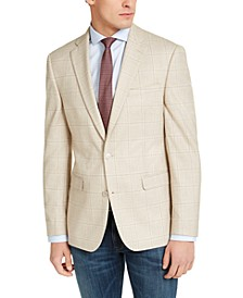 Men's Slim-Fit Tan Windowpane Plaid Sport Coat, Created for Macy's