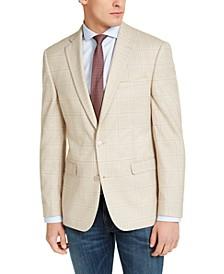 Men's Slim-Fit Tan Windowpane Plaid Sport Coat, Created For Macy's