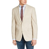 Bar III Men's Slim-Fit Tan Windowpane Plaid Sport Coat