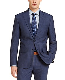 Men's Slim-Fit Stitch Navy Blue/Blue Stripe Suit Jacket