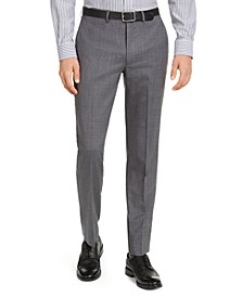 Men's Slim-Fit Stretch Light Gray/Blue Suit Pants