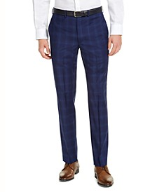 Men's Slim-Fit Stretch Blue Plaid Suit Pants