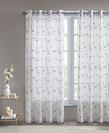 """Meredith 50"""" x 95"""" Floral Embroidered Sheer Curtain Panel"""