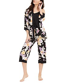 Floral-Print Robe, Cami & Capri Pants 3pc Pajama Set