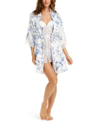Aviary Floral-Print Chiffon Babydoll Chemise Nightgown