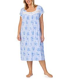 Plus Size Venise-Lace-Trim Waltz Nightgown