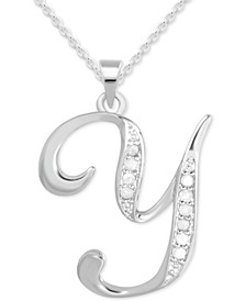 "Diamond Y Initial 18"" Pendant Necklace (1/10 ct. t.w.) in Sterling Silver"