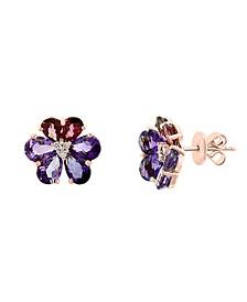 EFFY® Multi-Gemstone (5-7/8 ct. t.w.): Amethyst, Pink Tourmaline & Diamond (1/20 ct. t.w.) Flower Stud Earrings in 14k Gold