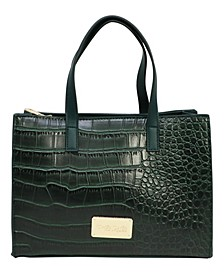 Crista Triple Entry Croco Satchel
