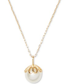 "Gold-Tone Pavé & Imitation Pearl Pendant Necklace, 17"" + 3"" extender"