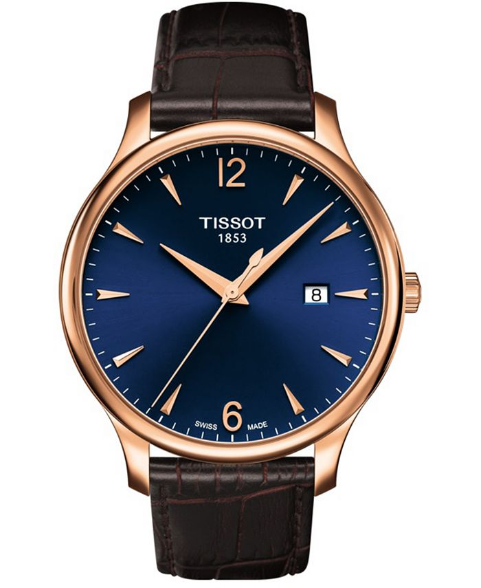 Tissot - Unisex Swiss Tradition T-Classic Brown Leather Strap Watch 42mm
