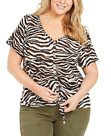 Trendy Plus Size Animal-Print Tie-Front Top