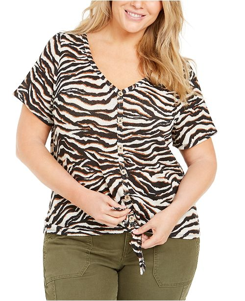 Planet Gold Trendy Plus Size Animal-Print Tie-Front Top