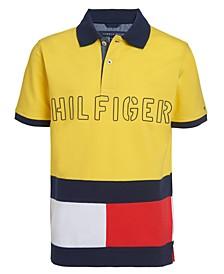 Big Boys Pieced Colorblocked Logo Polo Shirt