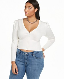 Plus Size Puff Sleeve Cardigan, Created for Macy's