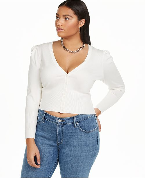 Danielle Bernstein Plus Size Puff Sleeve Cardigan, Created for Macy's
