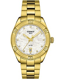 Women's Swiss PR 100 Sport Chic T-Classic Diamond (1/20 ct. t.w.) Gold-Tone Stainless Steel Bracelet Watch 36mm