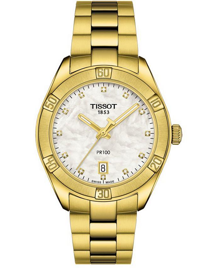 Tissot - Women's Swiss PR 100 Sport Chic T-Classic Diamond (1/20 ct. t.w.) Gold-Tone Stainless Steel Bracelet Watch 36mm