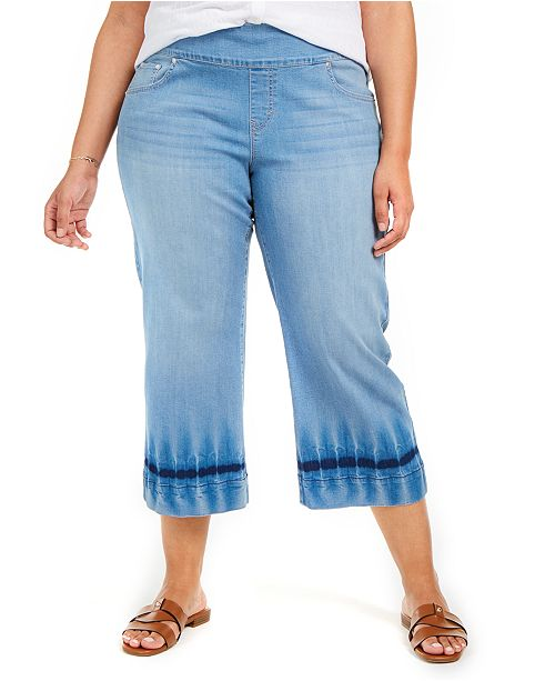 Style & Co Plus Size Cropped Wide-Leg Jeans, Created for Macy's