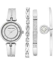 Women's Silver-Tone Bangle Bracelet Watch 30mm Gift Set
