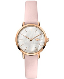Women's Swiss Moon Pink Leather Strap Watch 28mm