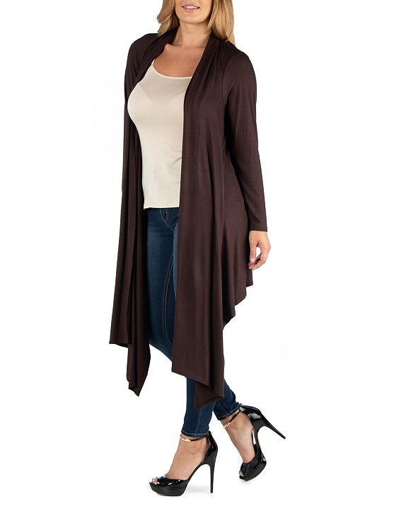 24seven Comfort Apparel Long Sleeve Knee Length Open Plus Size Cardigan