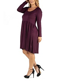 Knee Length Pleated Long Sleeve Plus Size Dress