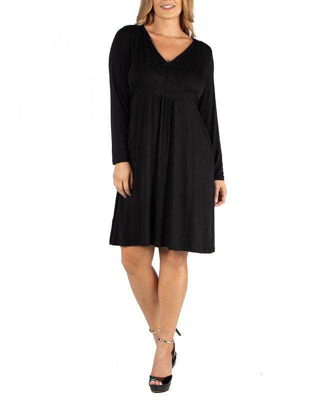24seven Comfort Apparel Womens V-Neck Long Sleeve Professional Plus Size Dress