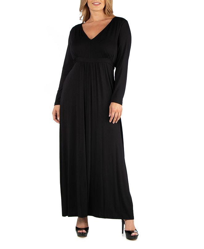 24seven Comfort Apparel Semi Formal Long Sleeve Plus Size Maxi Dress