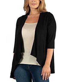Elbow Length Sleeve Plus Size Open Cardigan