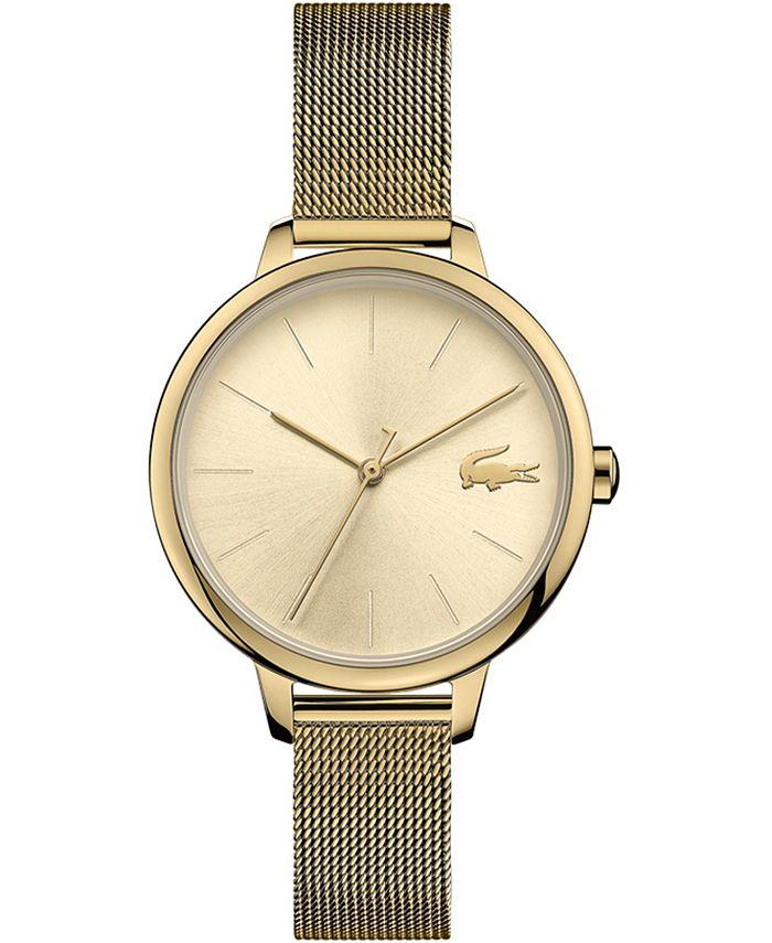 Lacoste - Women's Cannes Gold-Tone Stainless Steel Mesh Bracelet Watch 34mm
