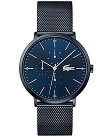 Men's Swiss Moon Blue Stainless Steel Mesh Bracelet Watch 40mm