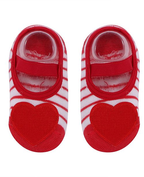 NWALKS Baby Boys and Girls Anti-Slip Cotton Socks with Heart Applique