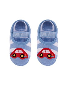Baby Boys and Girls Anti-Slip Cotton Socks with Car Applique