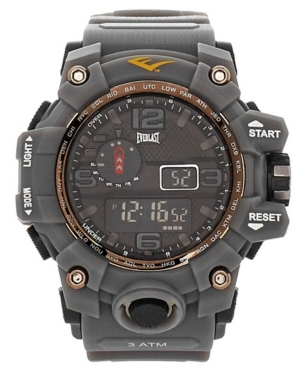 Everlast Mens Gray Rubber Strap Digital Sports Watch 51mm
