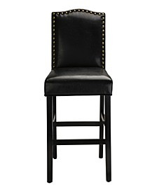 "Set of Two 45"" H Leatherette Barchair with Studded Decoration and Solid Rubberwood Legs"
