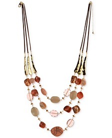 """Stone & Shell Beaded Triple-Row Faux-Suede Necklace, 25"""" + 3"""" extender, Created For Macy's"""