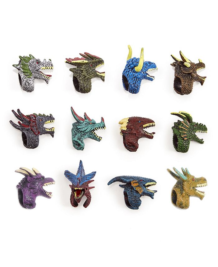 Two's Company - Refill for Dragon Duel 48 Pc Mystery Dragon Adjustable Ring Finger Puppet Un Includes 12 Designs each ring in ball container - Plastic
